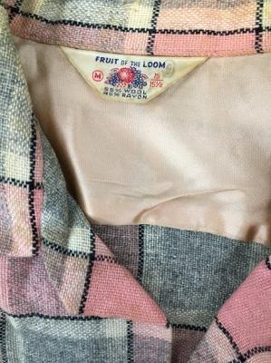 50sグレピン・ウールシャツ 襟拡大写真